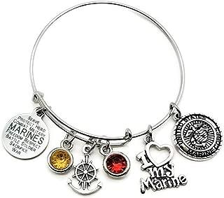 Marine Bracelet, USMC Bracelet, USMC Wife Bracelet, USMC Mom Bracelet, USMC Girlfriend Bracelet, USMC Sister Bracelet, I Love My Marine Bracelet, USMC Jewelry, Marine Bangle Bracelet