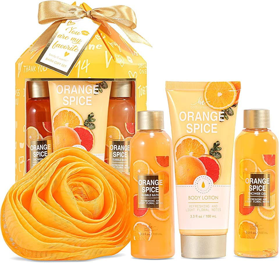 BODY & EARTH Spa Gift Sets for Her, 4pcs Orange Spice Bath Set Include Shower Gel, Bubble Bath, Body Lotion, Spa Sets for Women Gifts, Birthday Gifts for Women, Girlfriend Gift Set