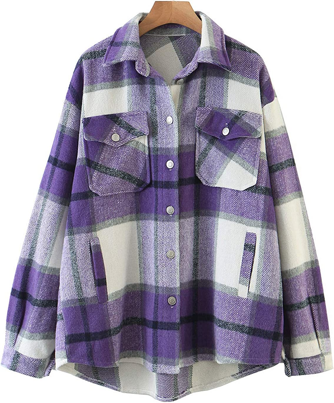 Haellun Women's Wool Blend Plaid Down Shi Flannel Shacket Directly Max 63% OFF managed store Button