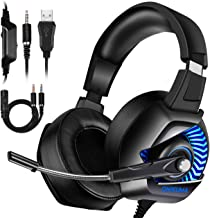 ONIKUMA Xbox One Gaming Headset - Gaming Headset with Mic for PS4, Nintendo Switch, PC, Over Ear Noise-Canceling Gaming Headphones with 7.1 Surround Sound & LED Light for Mac, Laptop, Xbox One