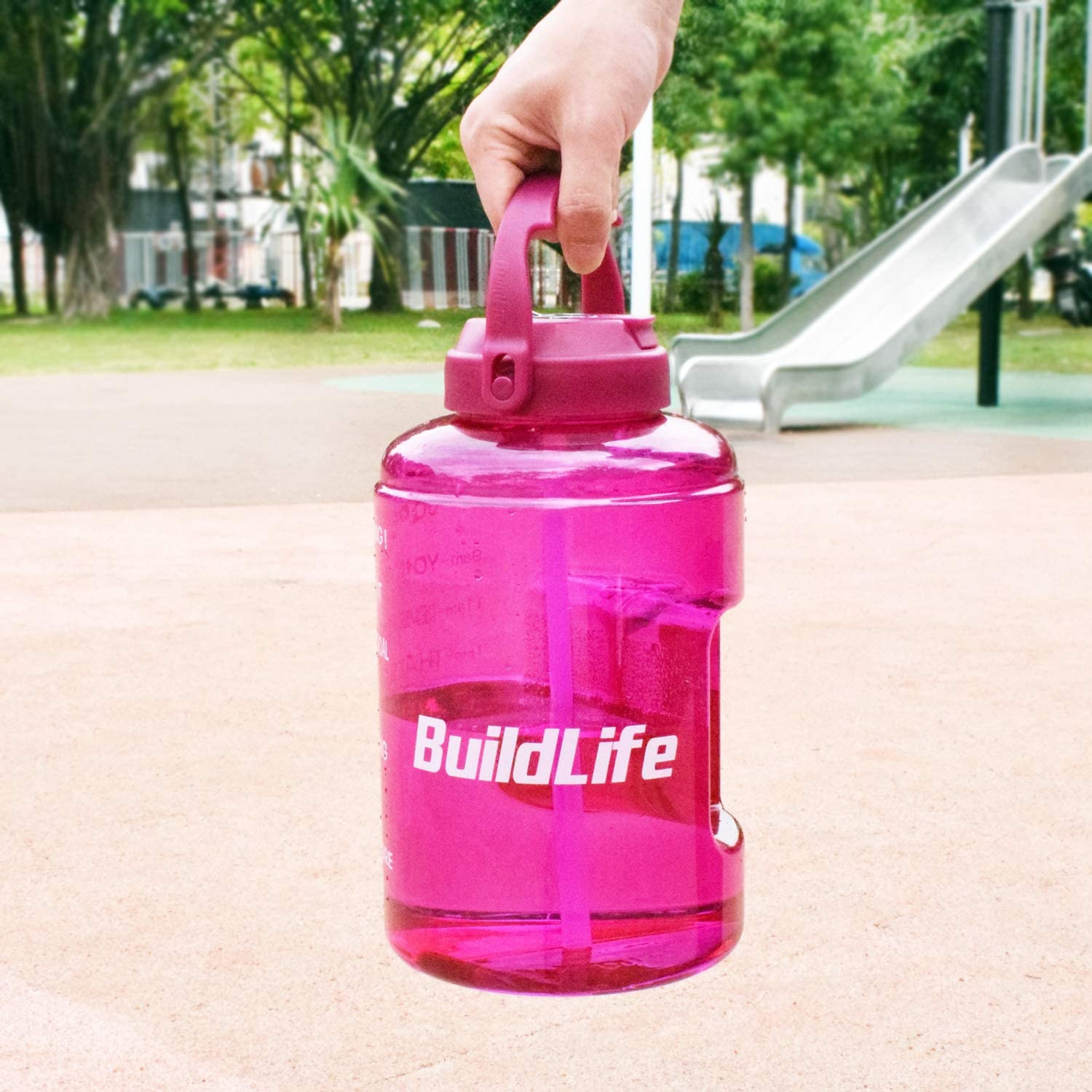 BuildLife 3.78L//2.5L Water Bottle with Starw /& Motivational Time Marker Large BPA Free Wide Mouth with Handle Reusable Leakproof to Drink More Water Daily