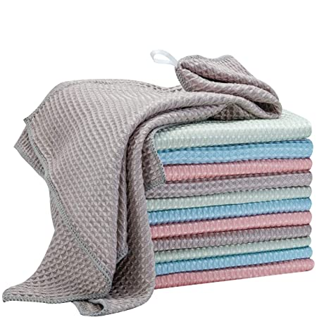 Athomely Microfiber Kitchen Dish Towels And Dishcloths Absorbent Towels For Kitchen Cleaning Cloths Waffle Weave Kitchen Hand Towels With Hanging Loop Dish Rags Pack Of 4 13 X 28 In Kitchen