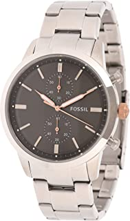 Fossil Men'S Black Dial Stainless Steel Band Watch Fs5407, Analog
