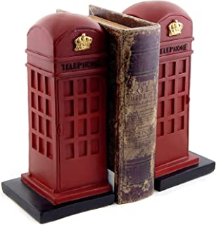 Bellaa 25730 London Telephone Bookends British Phone Booth 9 inch
