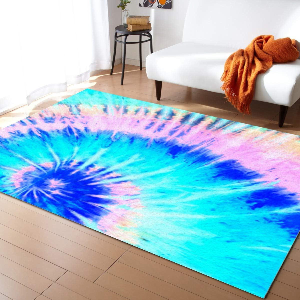 Indoor Area Rug 5' Popular brand x 7' Blue Tie Deluxe Floor for Non-Slip Rugs Li Dye