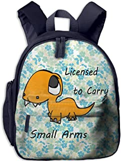 Ojinwangji Licensed to Carry Small Arms T-rex DinosaurChildren's Full-Size Printed Backpack (with Pocket)