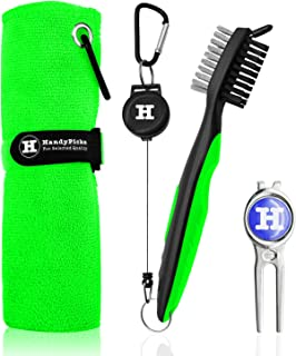 Microfiber Golf Towel (40 X 40 cm) with Carabiner, Club Brush, Golf Divot Repair Tool with Ball Marker - Golf Accessories, Ideal for Golfers - 3 in 1 Golf Cleaning Kit by Handy Picks