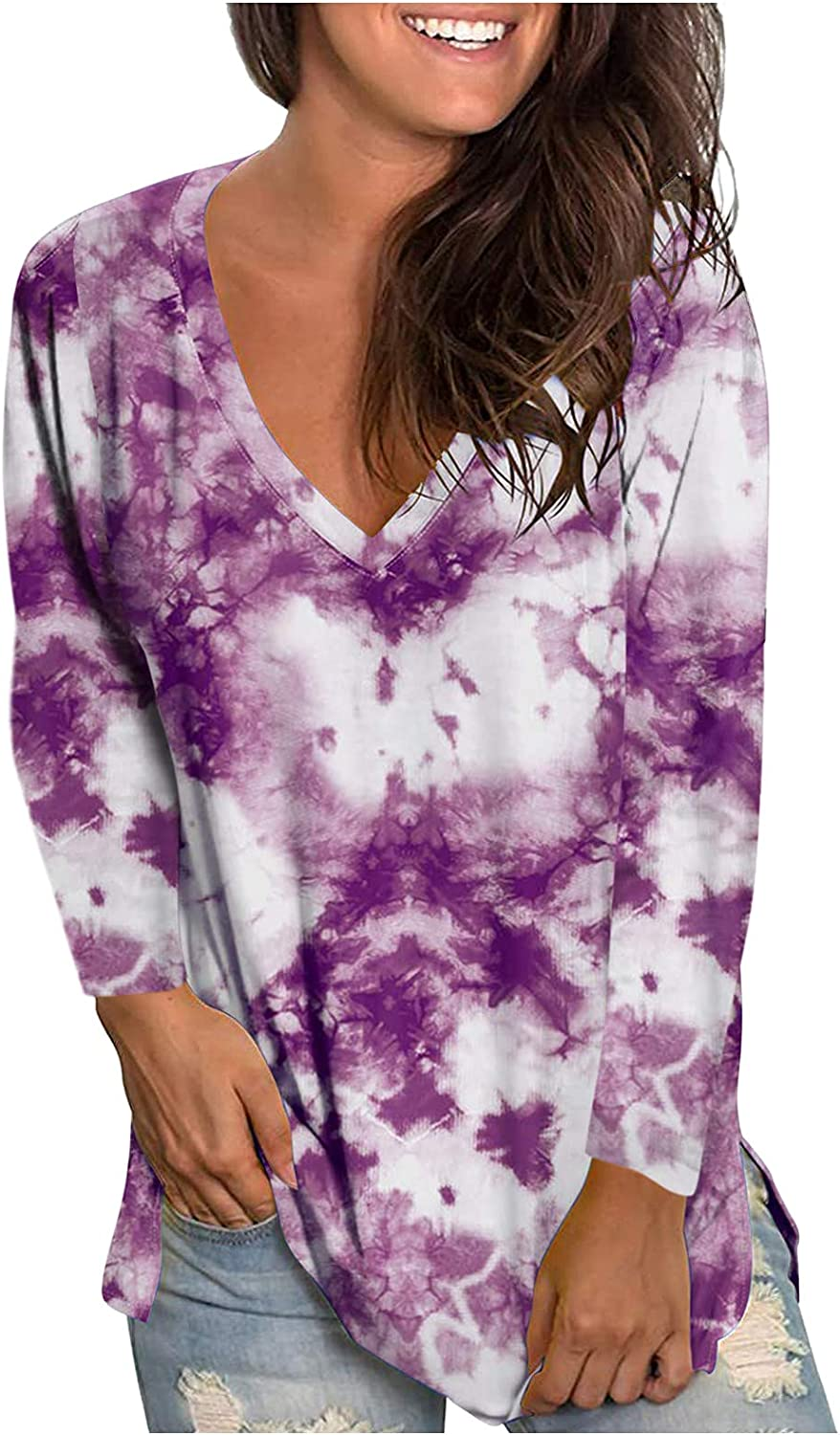 FABIURT Long Sleeve Shirts Women Casual, V Neck Floral Print Tunic Tops Loose Trendy Plus Pullover Shirt Workout Blouses