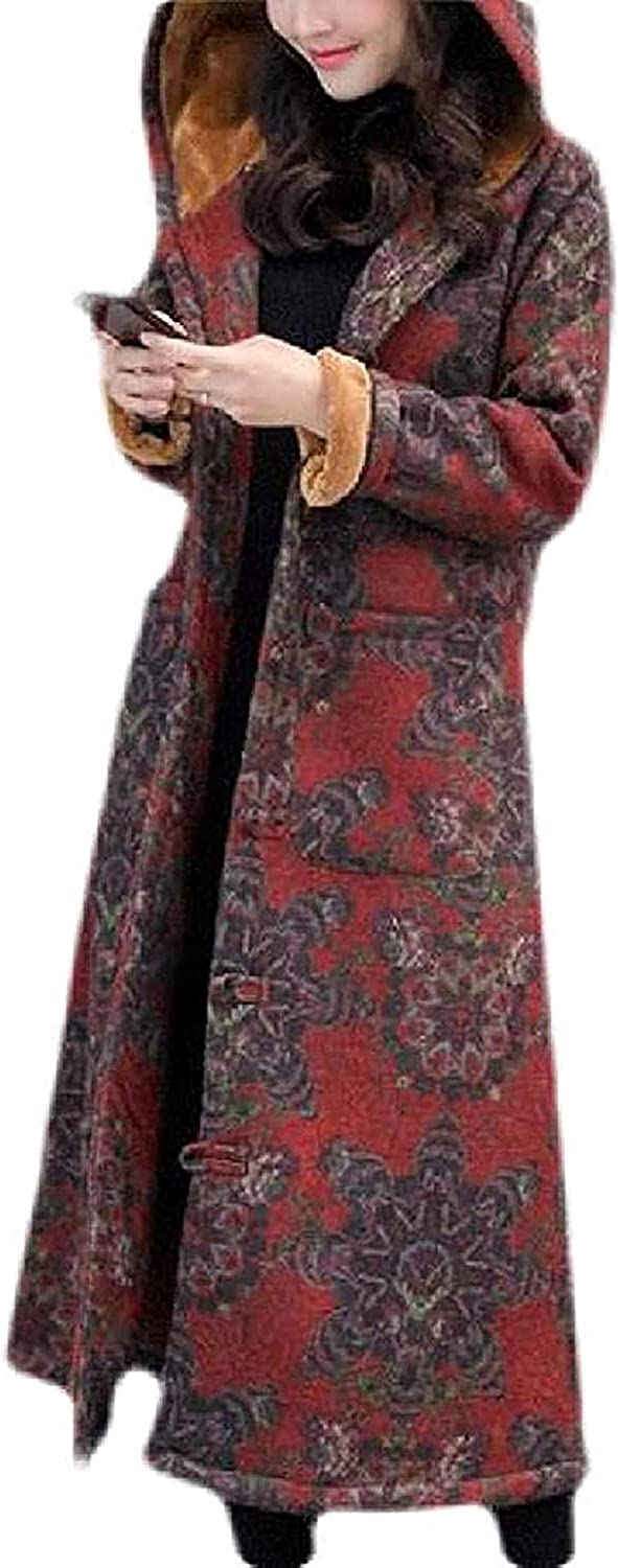 DXSS Women Overcoat Winter Chinese Style Faux Fur Lined Hoodie Thick Quilted Coat