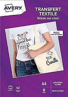 AVERY - Pochette de 8 Papiers Transferts Tee-Shirt ou Textiles Blancs ou Clairs, Personnalisables et Imprimables, Format A...
