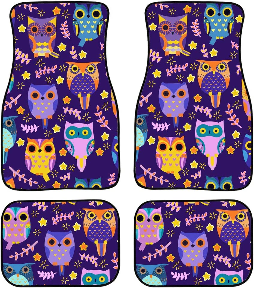 4 Pieces Owl Cheap mail order specialty store Anime Over item handling ☆ Car Floor Liner Mats Ma Front Rear Auto