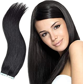 Tape in Hair Extensions-100% Remy Human Hair Seamless Skin Weft Straight Hair 20pcs 50g per Pack (20 Inches, 1B Natural Black)