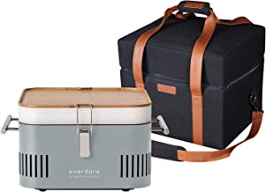 Everdure by Heston Blumenthal Cube Portable Charcoal Grill and Cover Bundle: Perfect for Picnics, Tailgating, Beach, Campi...