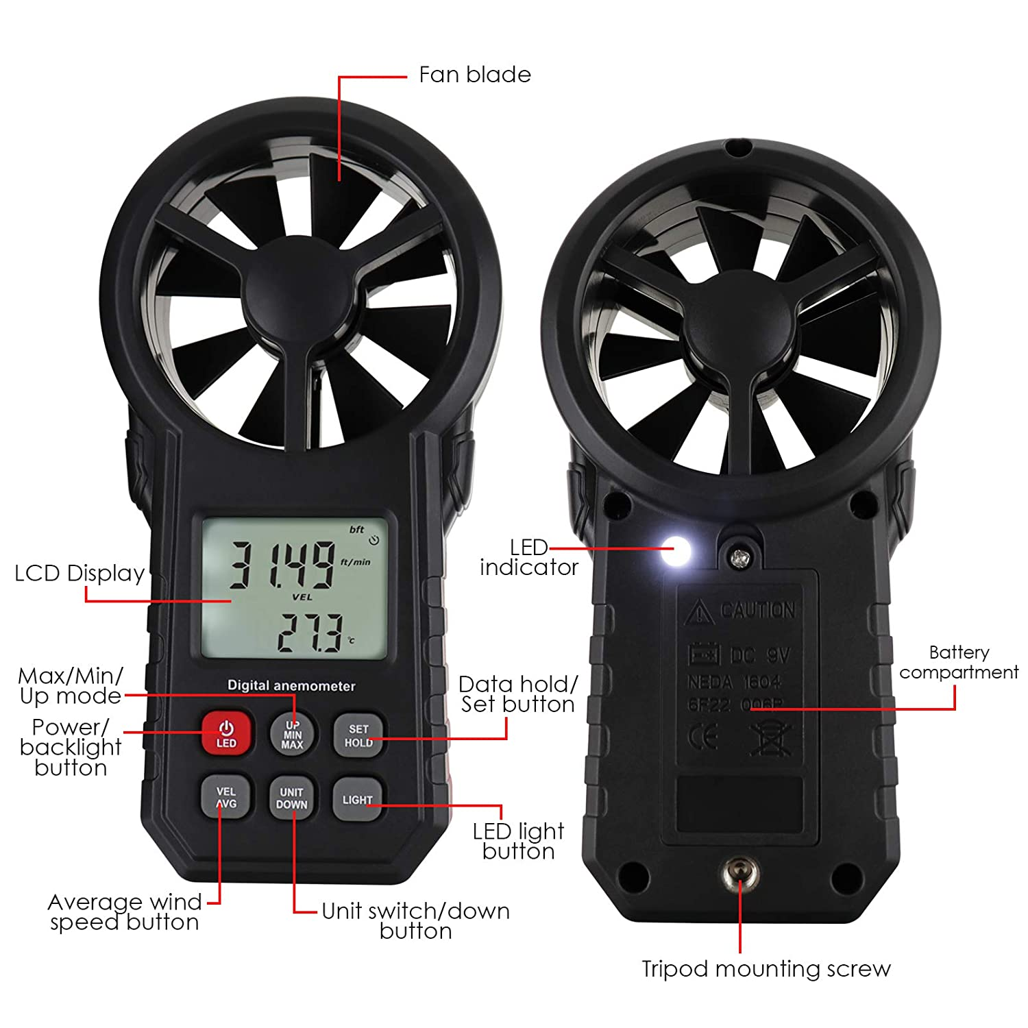 Gain Express Digital Vane Anemometer Handheld Wind Speed Temperature Meter Air Velocity Wind Chill Tester Gauge with MAX//MIN//AVG//Current Measurement Backlight