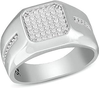 خواتم فضية للرجال 925 مجوهرات من الفضة الاسترليني مع إعداد كوكتيل حجر زركونيا مكعب