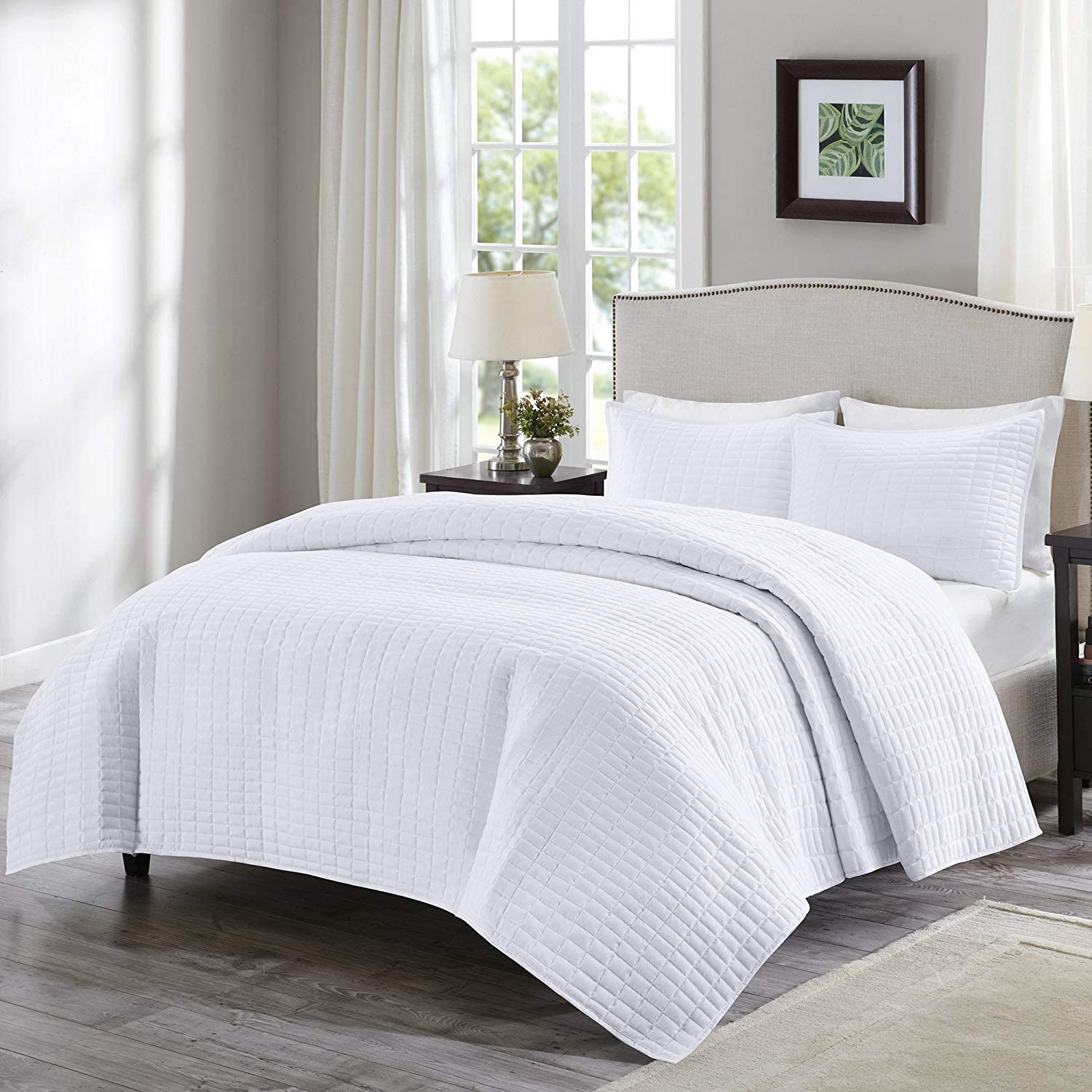 Comfort Spaces Kienna 3 Piece Quilt Coverlet Bedspread Ultra Soft Hypoallergenic Microfiber Stitched Bedding Set, Full Queen, White