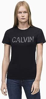 Calvin Klein Jeans Women's Satin Calvin Logo T-Shirt, Black, L