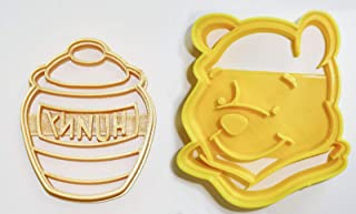 WINNIE THE POOH ADVENTURES BEAR HUNNY HONEY POT DISNEY BOOK KIDS CARTOON SET OF 2 SPECIAL OCCASION COOKIE CUTTERS BAKING TOOL 3D PRINTED MADE IN USA PR1065