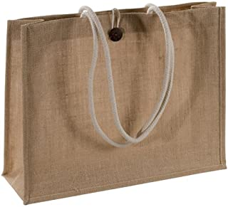 """Natural Jute Burlap Shopping Tote Bags with Cotton Handles Buttoned Closure Front Pocket Bags Size 18""""W X 14""""H X 6"""""""