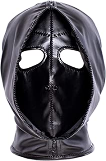 Leather Bondage Mask, Black Full Face Breathable Restraint Head Hood, Sex Toys, for Unisex Adults Couples, BDSM/LGBT Halloween Masquerade Mask