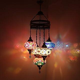 Plafonnier décoratif de style oriental multicolore turc marocain fait à la main avec 5 pièces
