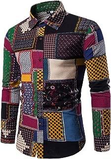 Mens Bohemian Shirt, Business Casual Boho Slim Long Sleeve Fit Print Blouse Top T-Shirt