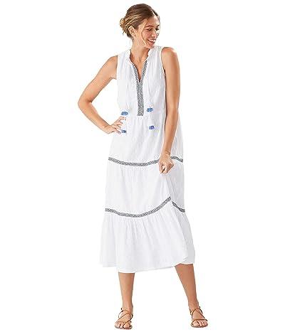 Tommy Bahama Cotton Clip Embellished Split-Neck Dress Cover-Up