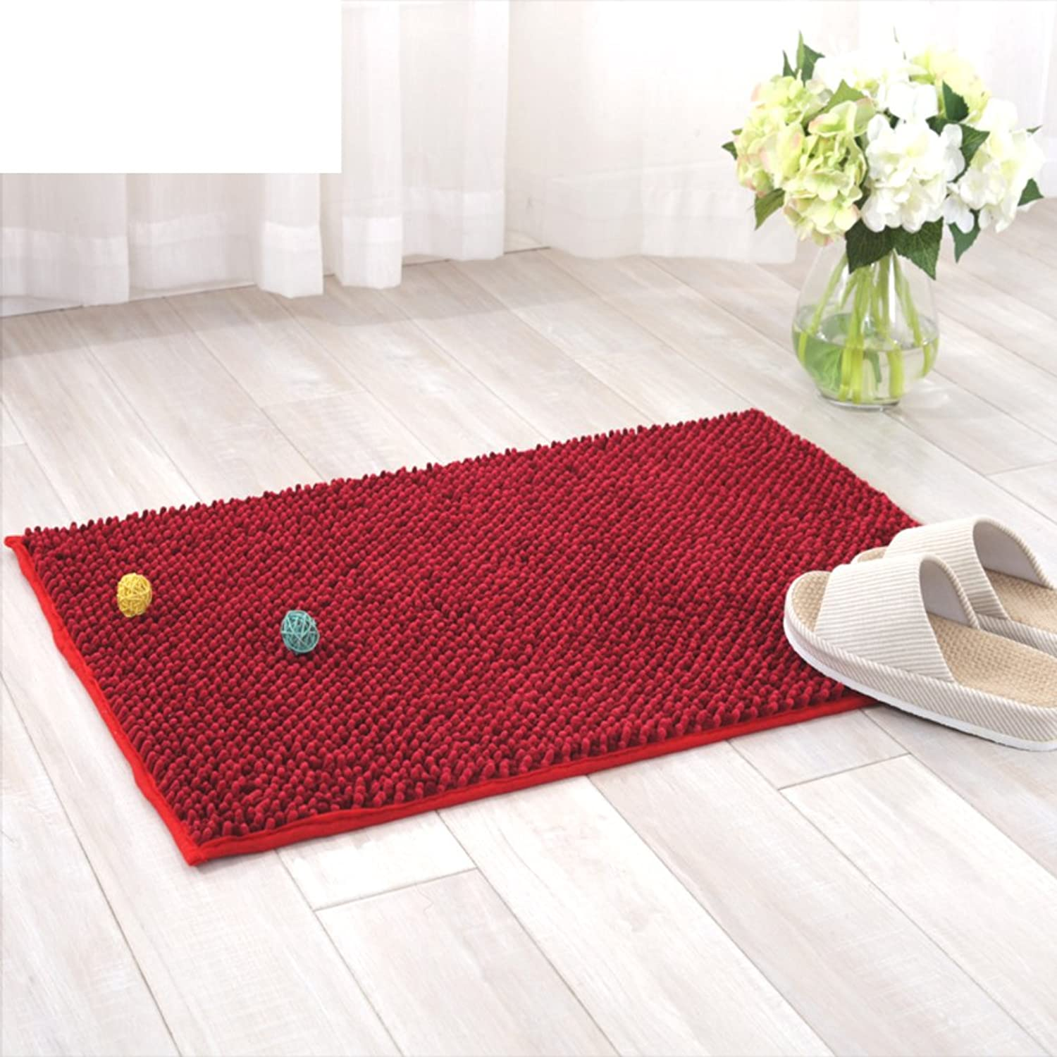 Chenille mat Doormat Enter Kitchen Restroom Bathroom Foot Pad Thick Absorbent Non-Slip mat-F 50x80cm(20x31inch)