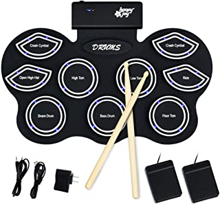 Costzon Roll Up Electronic MIDI Drum Pads W/LED Light, Portable Silicone Sheet 9 Pads with Drum Sticks, Supports Bluetooth, Recording, Headphone Jack, MP3, Pedal Interface for Kids Children Beginners