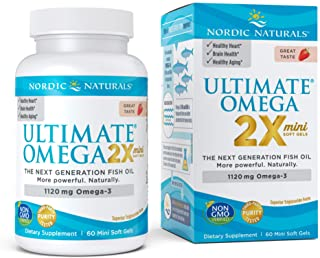 Nordic Naturals Ultimate Omega 2X Mini, Strawberry Flavor - 1120 mg Omega-3-60 Mini Soft Gels - High-Potency Omega-3 Fish ...