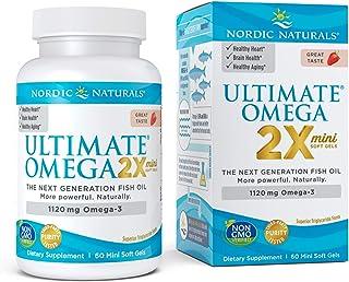 Nordic Naturals Ultimate Omega 2X Mini, Strawberry Flavor - 1120 mg Omega-3-60 Mini Soft Gels - High-Potency Omega-3 Fish ...