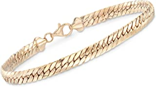 18kt Yellow Gold Over Sterling Silver Flat Cuban-Link Bracelet