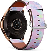 Compatible with Samsung Galaxy Watch (42mm) - Quick-Release Leather Band Bracelet Strap Wristband Replacement - Beautiful Watercolor Feather