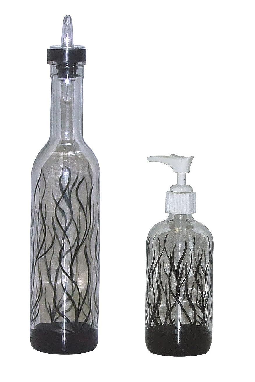 Abstract Winter Design Pour Bottle & Soap Pump Dispenser Set. Hand Painted