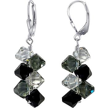 Cluster Swarovski Elements Clear & Black Crystal Leverback Handmade Drop 925 Sterling Silver Earrings