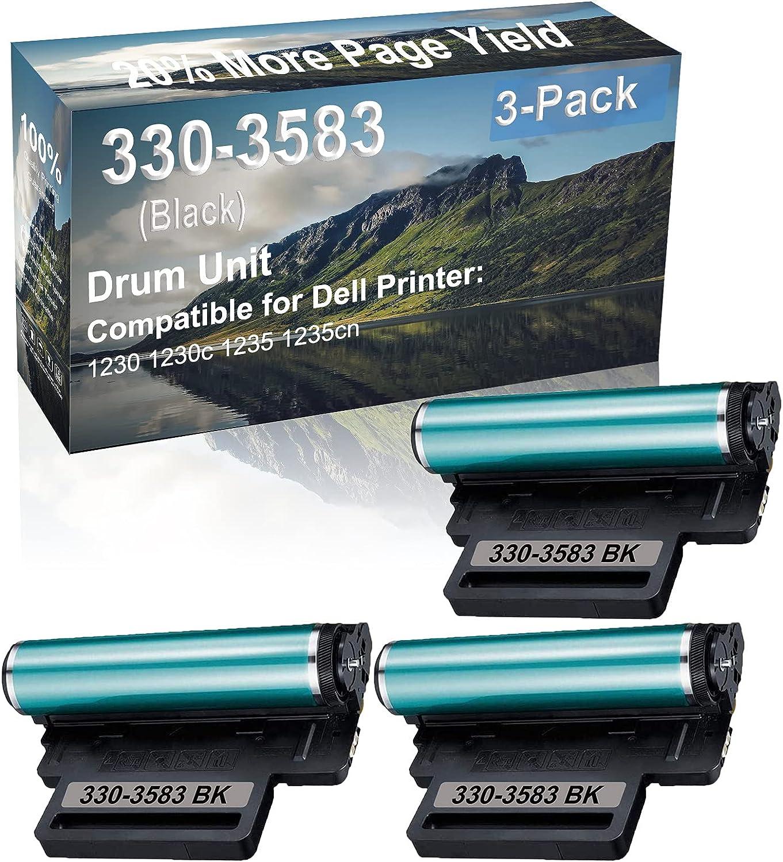 3-Pack (Black) Compatible 1230 1230c 1235 1235cn Printer Drum Unit Replacement for Dell 330-3583 Drum Kit