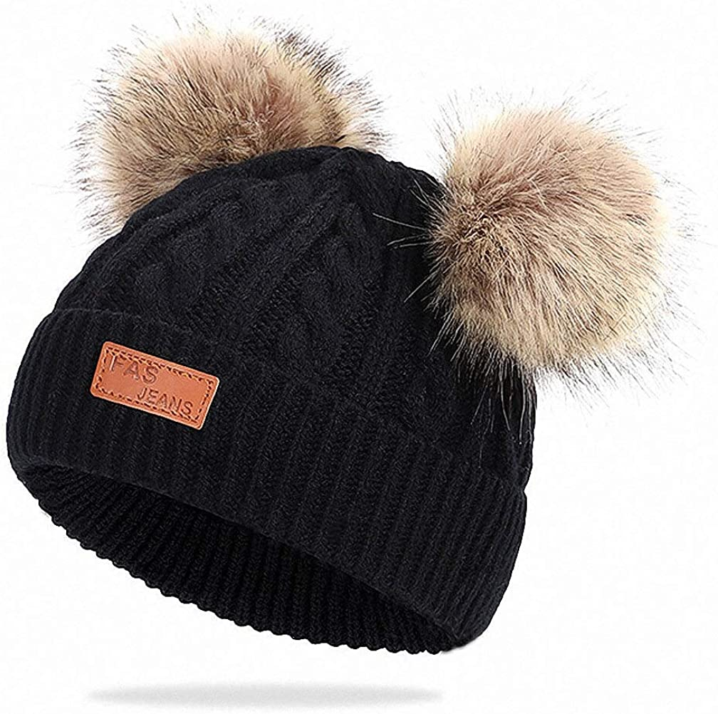 Feluz Kids Winter Free shipping anywhere in the nation Hat Double Pompom Beanie New mail order Knitted C Ears Twist