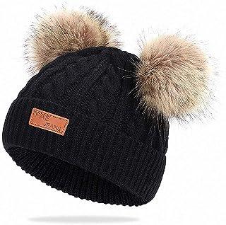 قبعة شتوية للأطفال من Feluz ، قبعة صغيرة مغزولة بأذن بوم مزدوجة للأولاد والبنات الصغار (لعمر 0-3)
