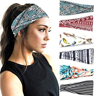 PLOVZ 6 Pack Women's Yoga Running Headbands Sports...