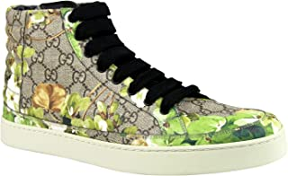 Gucci Bloom Print Supreme GG Green Canvas Hi Top Sneakers Shoes 407342 8960