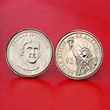 US 2007 Presidential Dollar BU Uncirculated Coin Silver Plated Cufflinks NEW - Thomas Jefferson (1801~1809 Years Served) Obverse + Reverse