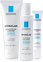 La Roche-Posay Effaclar Dermatological Acne Treatment 3-Step System with Medicated Gel Cleanser, Clarifying Solution and E...
