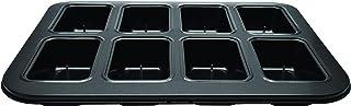 Zenker 687205 Plaque de 8 mini cakes cœur fondant, moule pour 8 fondants rectangles, Acier au carbone, Noir, 35 x 27 x 4 cm