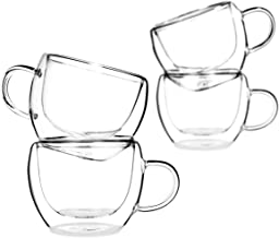 تياليرا - يونيفرس 8 أوقية - مجموعة من 4 - كؤوس مزدوجة الجدار مع مقبض - قهوة إسبرسو - الشاي - الكابتشينو - أكواب شفافة - عا...