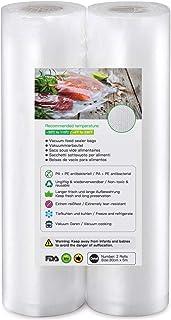 Rollos al Vacio para Envasadora al Vacío, 2 Rollos 30 x 500cm Bolsas de Vacío de Alimentos, BPA Free, Bolsas de Vacio Gofradas para Conservación de Alimentos y Sous Vide Cocina & Boilable