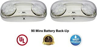 Outdoor Rated Ultra-Bright White LED Emergency Light(Bug Eyes) with Battery Backup, Wet Location Listed, 90-Minute Minimum Capacity, UL Certified, 5 Years Warranty (2 Pack)