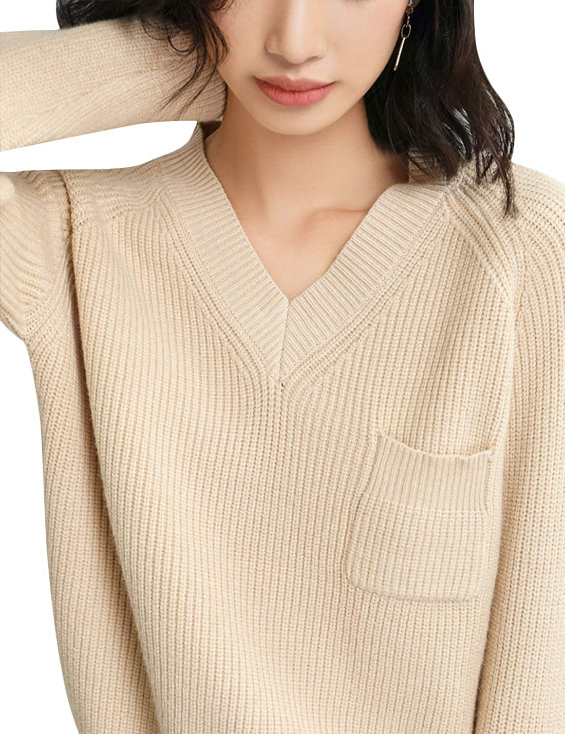 Springrain Women's Casual Warm V-Neck Knitted Sleeve Large special OFFicial site price Long Pullov
