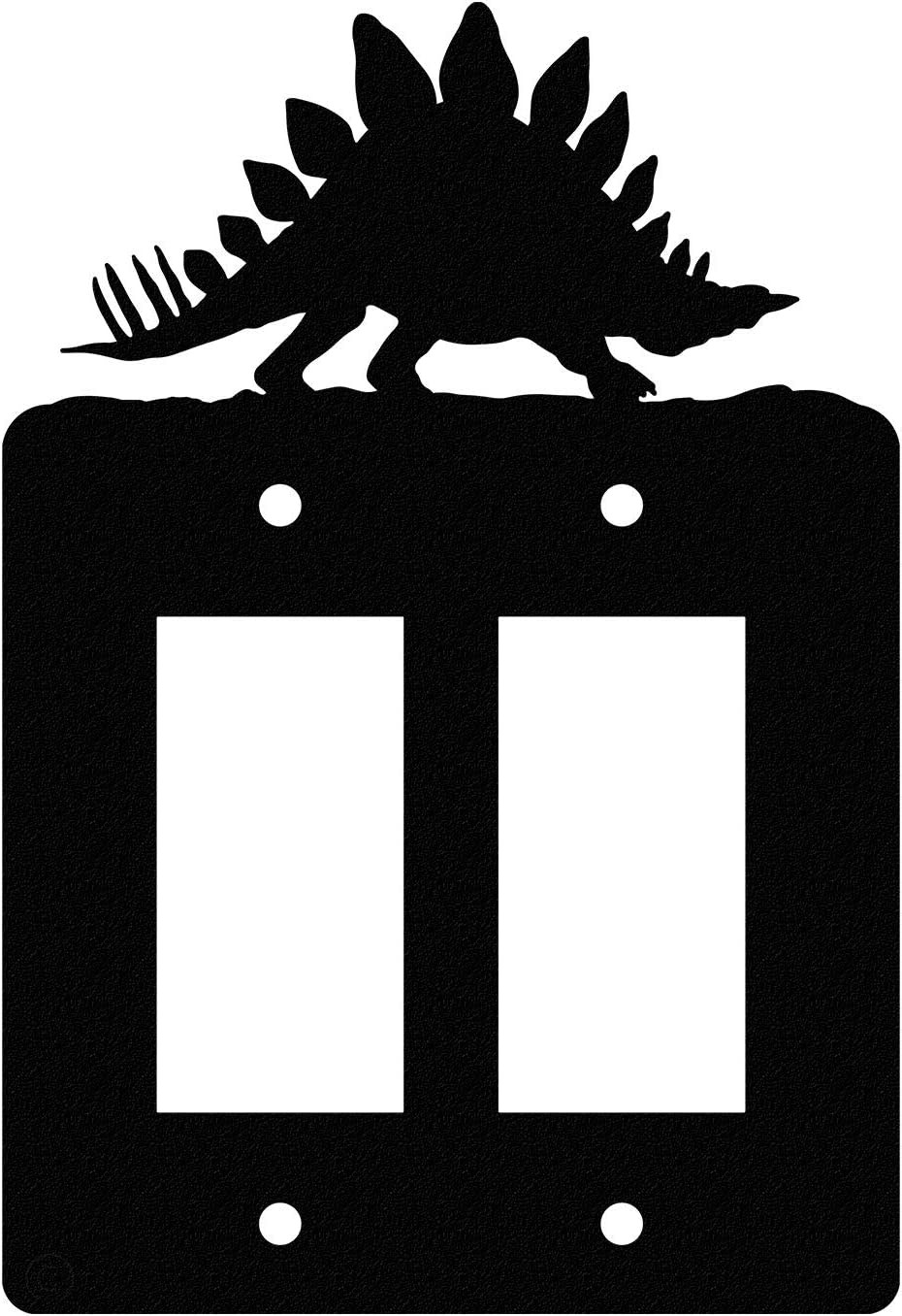 Stegosaurus Dinosaur Double Gang Light Switch Wall Plate Double Rocker Gfci Black