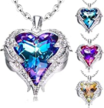 iuchoice Women Plated Crystal Necklaces Love Heart Pendants Girls Wedding Party Jewelry Accessories Valentines' Day Anniversary Souvenir Birthday Gifts for Her (A- Multicolor)