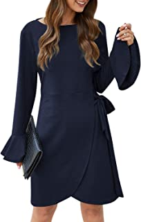 Simplee Women's Wrap Ruffle Crew Neck Long Sleeve Keyhole A Line Mini Dress with Belted